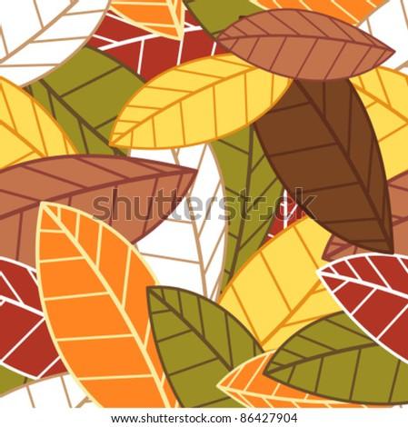 Autumn leaves seamless pattern - stock vector