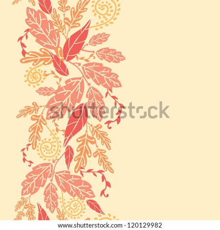 Autumn Leaves Vertical Seamless Pattern background border - stock vector