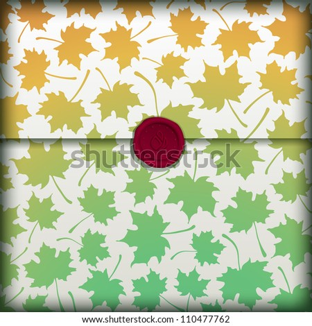 Autumn letter banner with wax seal. Vector eps10 illustration.