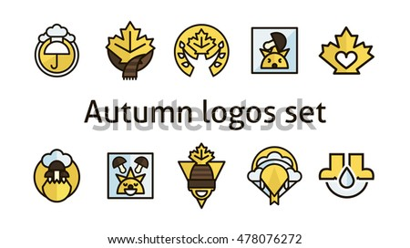 Autumn logos set. Maple leaf. Products for printing. Autumn mood