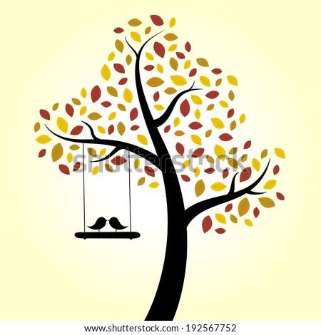 Autumn love birds tree swing - stock vector