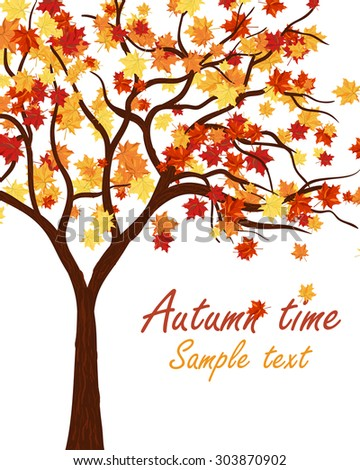 Autumn Maple Tree With Falling Leaves on White Background. Elegant Design with Text Space and Ideal Balanced Colors. Vector Illustration. - stock vector