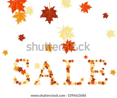 Autumn maples leaves sale word. Vector illustration. - stock vector
