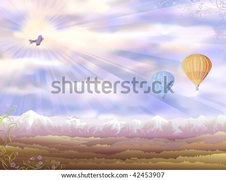 Autumn morning aerial view with an airplane and two hot air balloons (other landscapes are in my gallery)