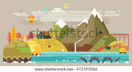 Autumn. Mountain landscape. The hotel is in the mountains. Mountain Lake. Ballooning. The monster in the lake. Mountain Trail. Ecological holidays.
