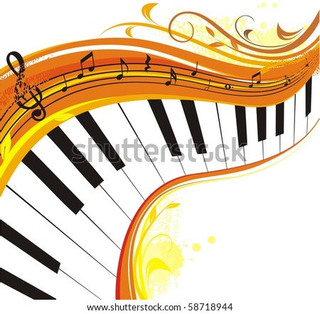 autumn music,rich background - stock vector