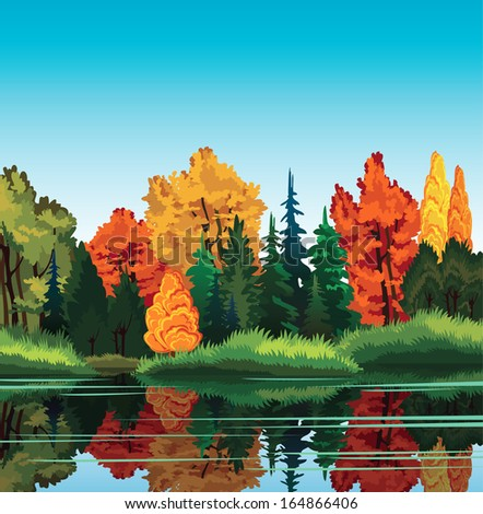 Autumn nature landscape with forest and lake. - stock vector