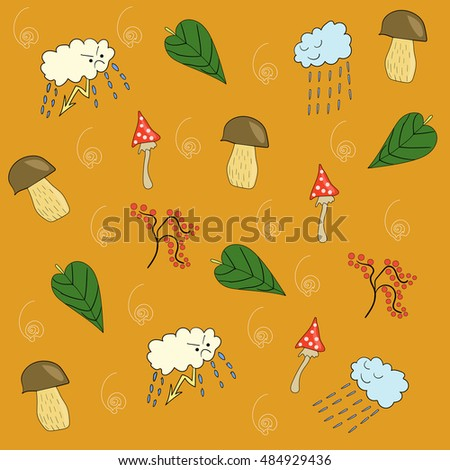 Autumn pattern on a bright background