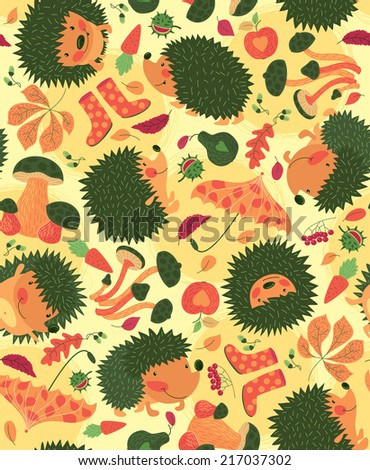 Autumn Pattern With Hedgehogs - stock vector