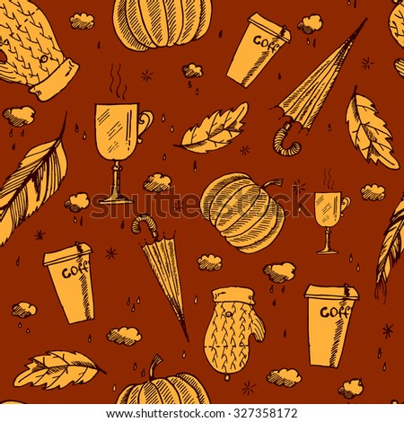 Autumn pattern with leaves, umbrella, pumpkin, coffee, mulled wine, mittens, clouds, raindrops and feathers