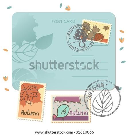 autumn postage set - stock vector