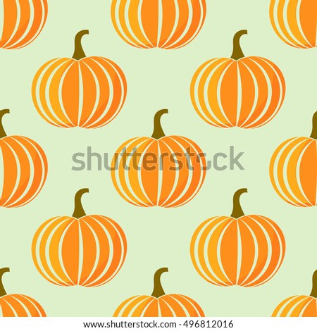 Autumn pumpkins pattern.Vector illustration