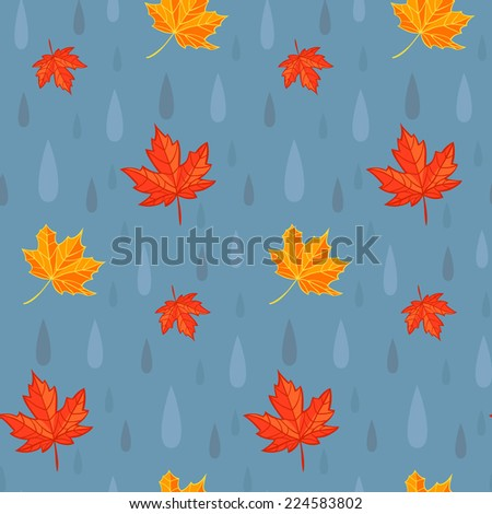 Autumn rain. Vector seamless pattern featuring maple leaves and raindrops. - stock vector