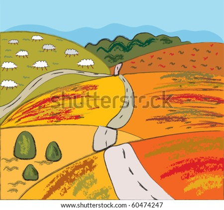 Autumn rural landscape with hills and road - stock vector