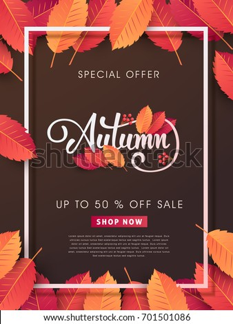 Autumn sale background layout decorate with leaves for shopping sale or promo poster and frame leaflet or web banner.Vector illustration.