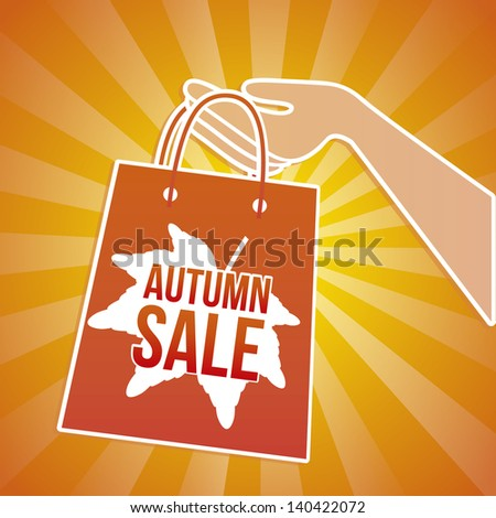 autumn sale bag over orange background vector illustration