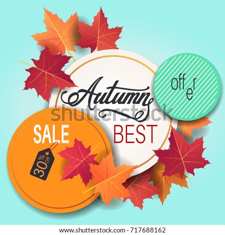 autumn sale banner colorful bright maple stock vector 717688162