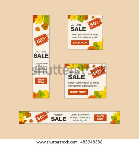 Autumn sale banners on the light background.