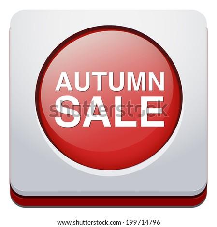 Autumn sale button - stock vector