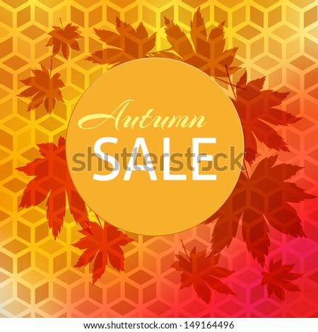 autumn sale design background - stock vector