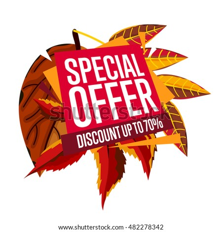 Autumn sale design template, vector illustration. Special offer, discount up banner with colorful leaves on white background. Advertisement about autumnal discount. Poster design for shop