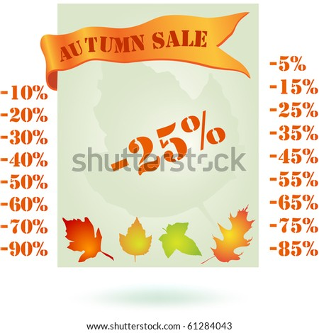 Autumn sale design, vector isolated on white - stock vector