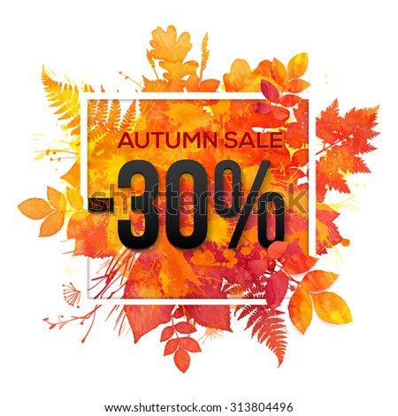 Autumn sale -30% discount vector banner with orange foliage in watercolor style - stock vector