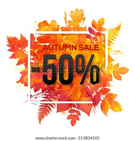 Autumn sale -50% discount vector banner with orange foliage in watercolor style - stock vector