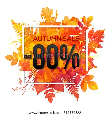 Autumn sale -80% discount vector banner with orange foliage in watercolor style - stock vector