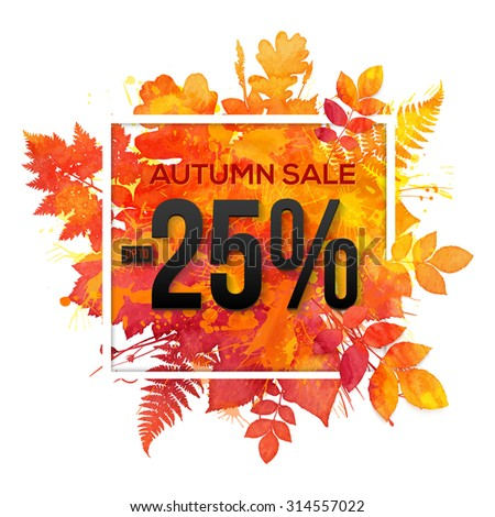Autumn sale -25% discount vector banner with orange foliage in watercolor style - stock vector