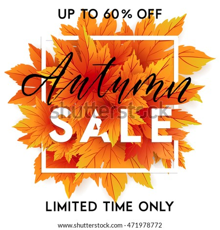 Autumn Sale Flyer Template Lettering Bright Stock Vector