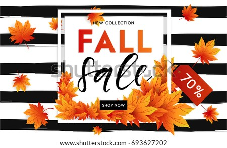 Autumn sale flyer template with lettering. Bright fall leaves. Poster, card, label, banner design. Bright striped background. Vector illustration EPS10