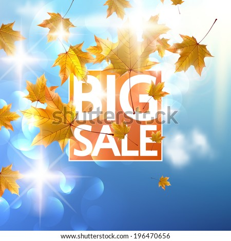 Autumn Sale poster with gold Maple leaves. EPS10 - stock vector