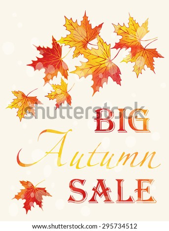 Autumn Sale poster with watercolor maple leaves. Vector illustration. - stock vector