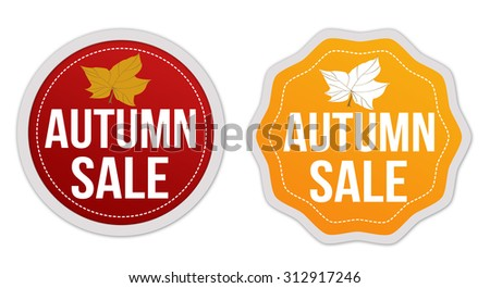Autumn sale stickers set on white background, vector illustration - stock vector