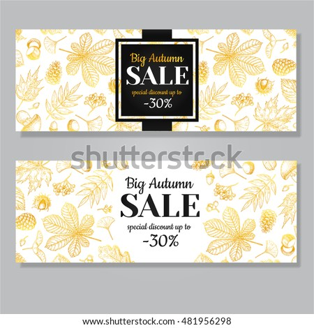 Autumn Sale Vector Gold Banner Leaves Stock Vector 481956298 ...