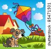 Autumn scene with dog and kite - vector illustration. - stock vector