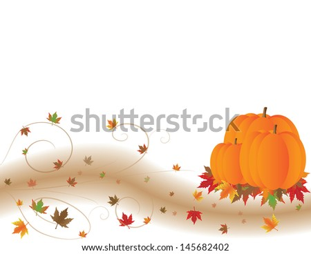 Autumn scene with orange pumpkins and colorful leaves in a swirling wind.