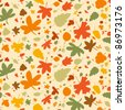 Autumn seamless background, vector illustration. - stock vector
