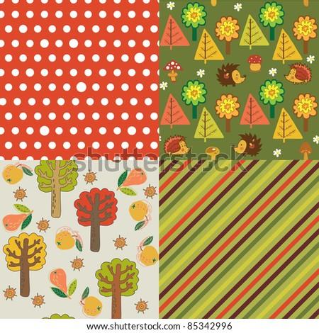 autumn seamless backgrounds - stock vector
