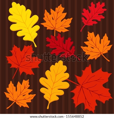 Autumn seamless colorful pattern with leaves, vector illustration - stock vector