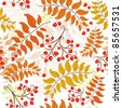Autumn seamless decorative floral pattern with colorful leaves (vector) - stock vector