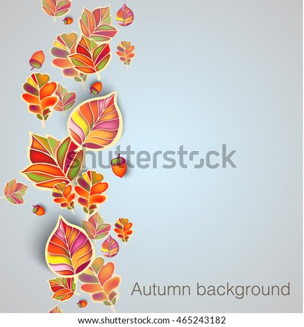 Autumn seamless ornament with leaves and acorns