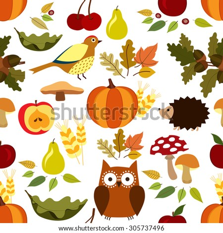 Autumn seamless pattern. Animals, fruits and leaves illustration - stock vector