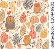 Autumn seamless pattern. Owls in the forest - stock vector