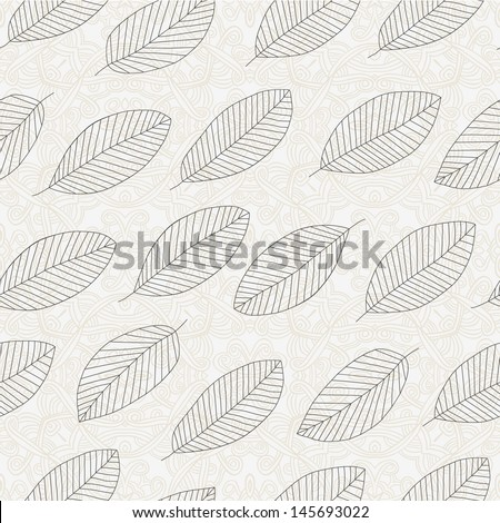Autumn seamless pattern with leaf. Vector Illustration.