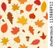 Autumn seamless pattern with leaves, acorns and mushrooms - stock photo