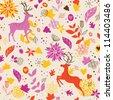 Autumn seamless with deer - stock vector