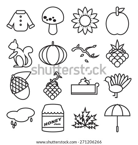 Autumn Season Outline Icons Set