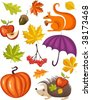 autumn set - stock vector